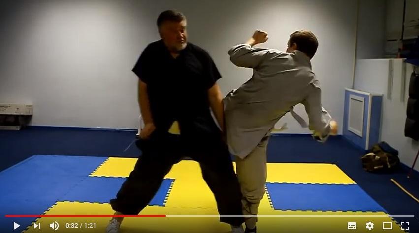 Защита от удара ногой с разворота